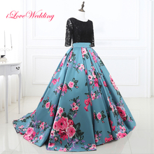 Floral Print Evening Dresses Scoop Neckline Three Quarter Sleeve Backless Ball Gown Black Lace Vestido de Festa 2017 New Arrival