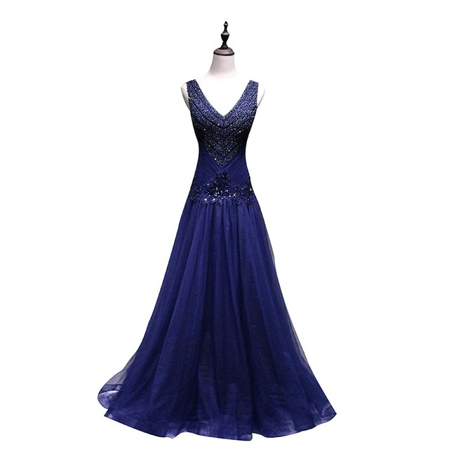 Gorgeous Evening Dresses 2019 Grade Quality Party Formal Dress Beading V neck Gown Prom Dress Robe De Mariee