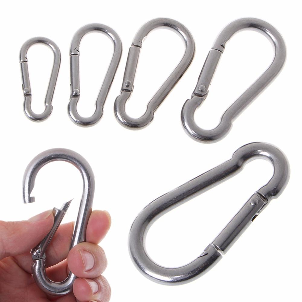 304 Stainless Steel Spring Carabiner Snap Hook Keychain Quick Link Lock Buckle