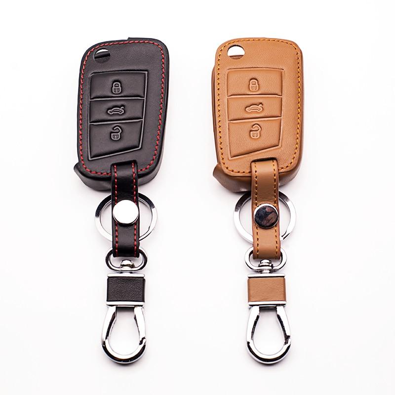Leather Car Key Case Cover For VW Golf 7 GTI MK7 Octavia A7 Seat Leon Ibiza Flip Remote Key Wallet Keychain Free Shipping shell