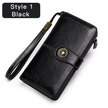 Vintage Style Split Leather Women's Wallet Bags and Wallets Hot Promotions New Arrivals Women's Wallets Color: Style 1 Black Ships From: China
