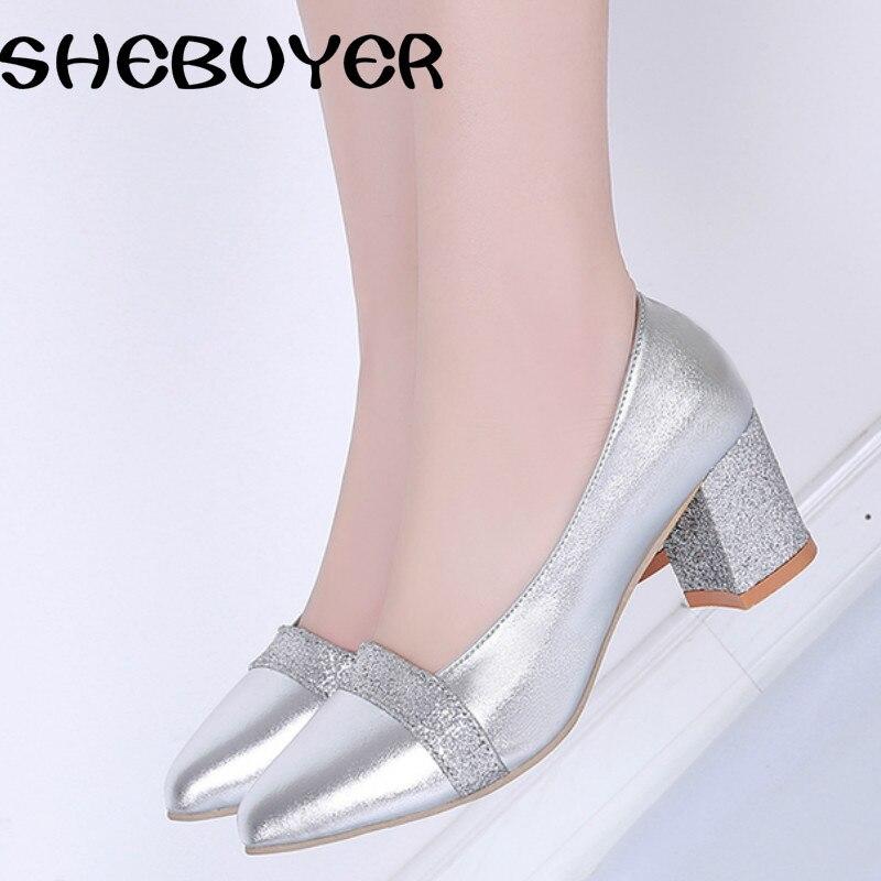 Oro Bombas Tacones Primavera Tamaño plata Bling Negro Sexy Mujeres Zapatos 35 Pointed Plata oro 2017 Med Toe Slip On Señoras Mujer Moda 41 fwqw76