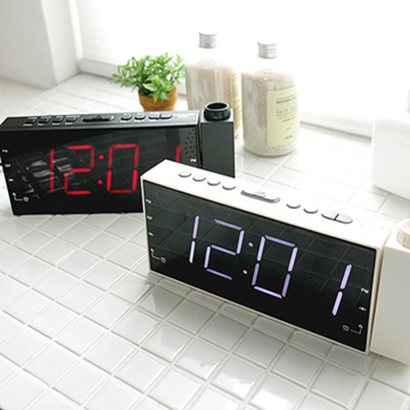 New Led Digital Radio Alarm Desk Table Bedisde Mute Candy Clocks Luminous Watch Timer Bell With Time Projection Clock Electronic