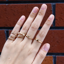 Shellhard Vintage Anti Gold Ring Set Bohemian Arrow Knuckle Midi Finger Stacking Rings For Women  Party Boho Jewelry 7Pcs/set