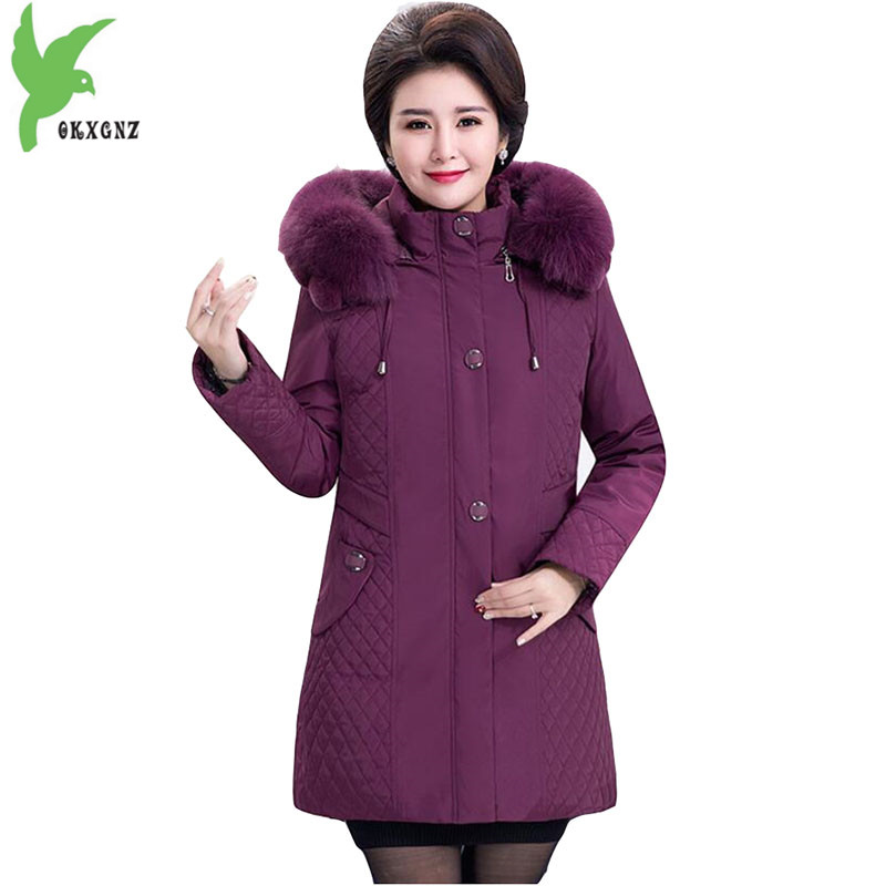 Down cotton Jacket for Middle-aged Women 2018 Winter Parkas High quality Thicken Hooded Coat Plus size 5XL Liner can be removed