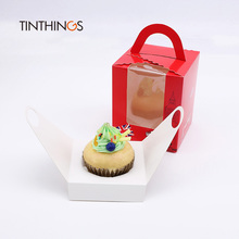 20 pcs cupcake boxes handle window Kraft Paper Gift Packaging box for kids Birthday home Party Product Storage Circus soldier