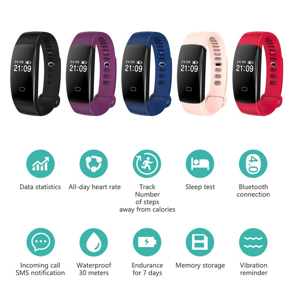 Professional Sport Smart Bracelet F08HR Wristband Heart Rate Monitor Pedometer Remote Camera Fitness Tracker For IOS Android