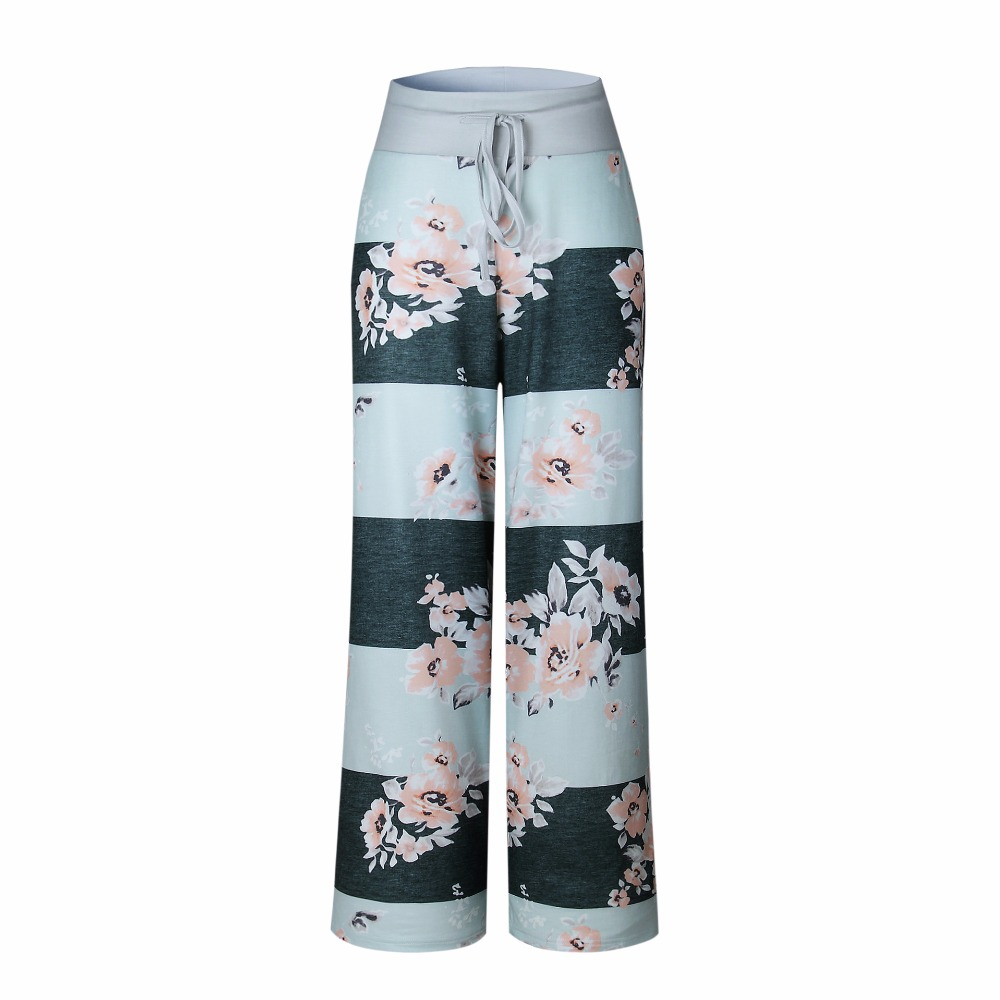 New 2018 Sleep Bottoms Women Pants Striped Floral Lace Up Waist Drawstring Wide Legs Trousers Loose Pijama Plus Size B88396 1