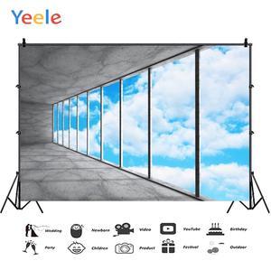 Image 2 - Yeele błękitne niebo białe chmury rama okienna fotografia wnętrza tła dostosowane fotograficzne tła dla Photo Studio