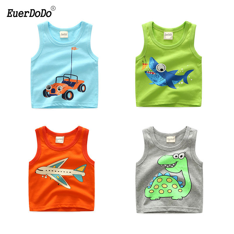 2018 Summer Boys Shirts Cartoon Kids Underwear Model Girls Undershirts Baby Camisole T-shirts For Children Clothing(China)