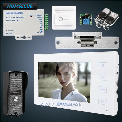 HOMSECUR Hand-fee 7inch Wired Video&Audio Smart Doorbell Electric Strike Lock Set Included+Remote Contoller