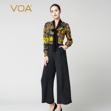 VOA luxury bow collar silk dobby jumpsuits ladies yellow and black long sleeve rompers plus size print pants K3995