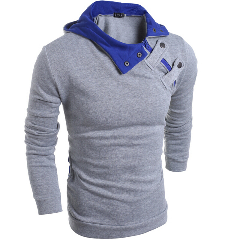 2019 Autumn Winter Mens Fashion Hooded Sweater Casual Men's Solid Color Oblique Collar Pullover Long Sleeve Warm Sweater Tops