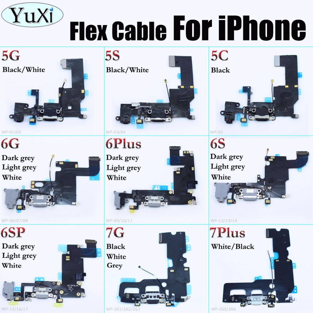 YuXi For iPhone 5 5c 5s 6 6s 6plus 6SP 7 7Plus Charger Charging port Dock USB Connector Data Flex Cable
