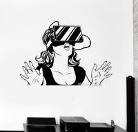Прохладный девушка виниловые обои Стикеры виртуальной реальности Гарнитура VR устройства женщина Наклейки Спальня Книги по искусству росп...