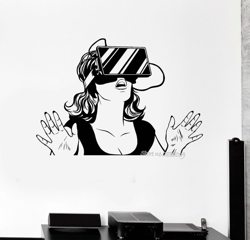 Cool Girl Vinyl Wall Sticker Virtual Reality Headset VR Device Woman Stickers Bedroom Art Mural Home Decor Vinilos Paredes LA583