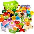 Alimentos De Corte Clásico Juguetes de Colores Pretend Juguetes Educativos Juguetes Kits de Cocina Comida Vegetal Fruta Play House Juguetes Para Niños