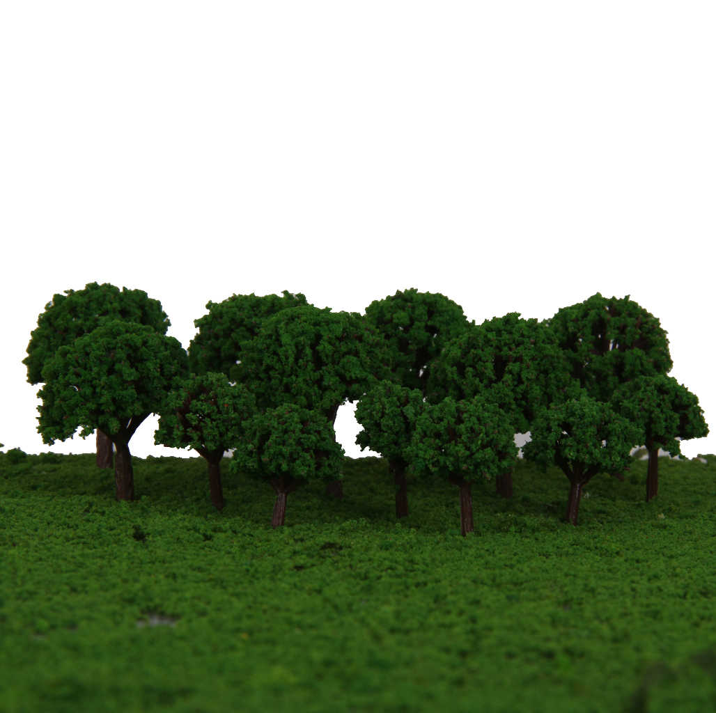 100Pcs Green Trees Model Train Railway Layout Wargame Diorama Landscape  Scenery Z Scale 1/500 DIY