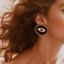 Big All-Seeing Eye Stud Earrings Jewelry Black White Enamel Evil Statement Fashion Womens 2019