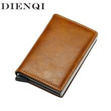 696656429a7a2 DIENQI أعلى جودة المحفظة الرجال المال حقيبة البسيطة محفظة الذكور خمر آلي  الألومنيوم Rfid بطاقة حامل