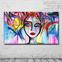 Colored abstract portrait oil painting hand paint for home sense decoration acrylic oil painting by numbers