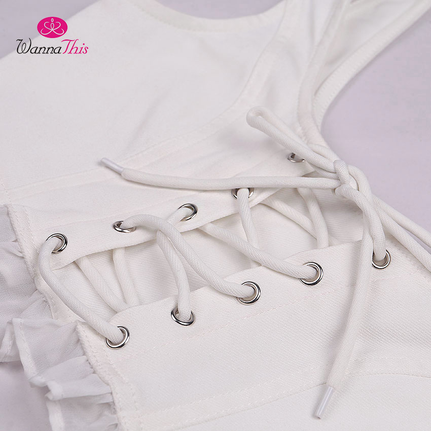HTB1wofcX8yWBuNkSmFPq6xguVXa0 - FREE SHIPPING Women Lace Up White Tank Tops  Back Zipper Lace JKP361
