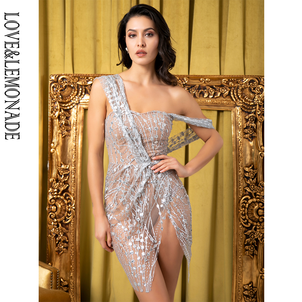 Love&Lemonade Sexy Silver Straless Sling Cross Style Glitter Glued Material Party Dress LM80366-1