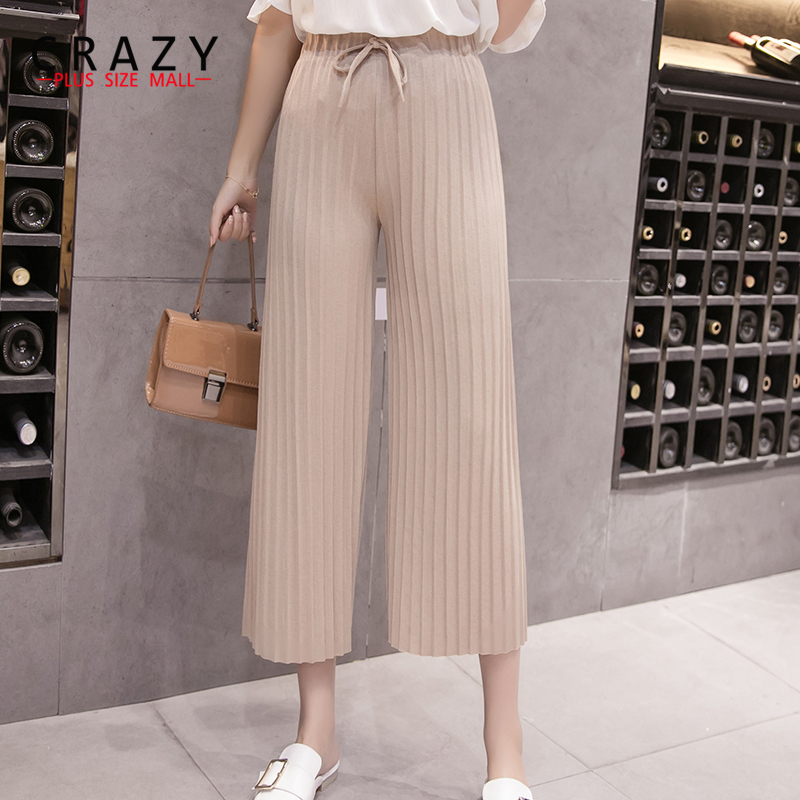 New 2018 Summer Fit for 45-110kg Women Casual Loose   Wide     Leg     Pants