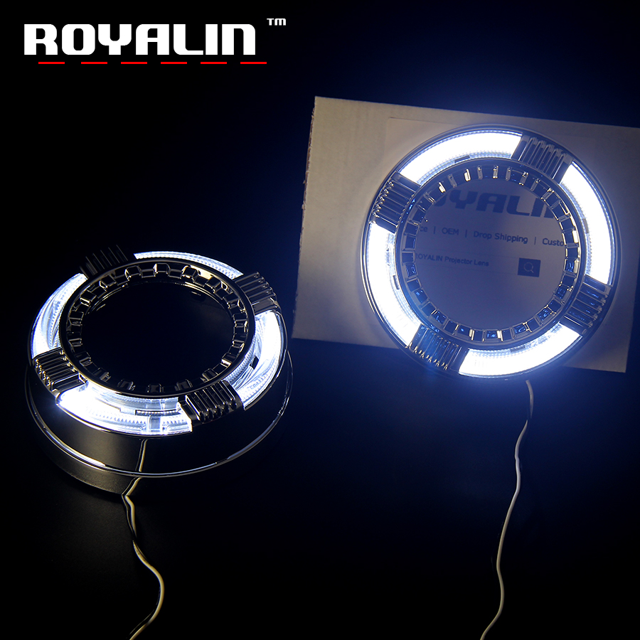ROYALIN DRL Projector Lens Shrouds For Quadrod Masks 3.0 inch White Amber Switchback LED Daytime Running Light White Yellow DIY free shipping 60cm flexible daytime running light 4 colors available white yellow blue red day driving switchback drl