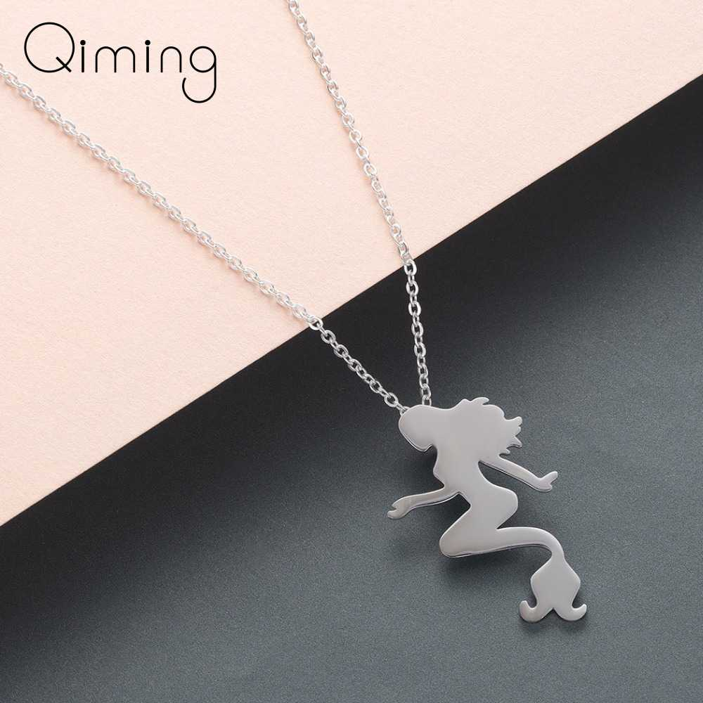Figure Mermaid Necklace Beautiful Gold Silver Women Girls Statement Jewelry Fashion Stainless Steel Necklaces Lady Gift