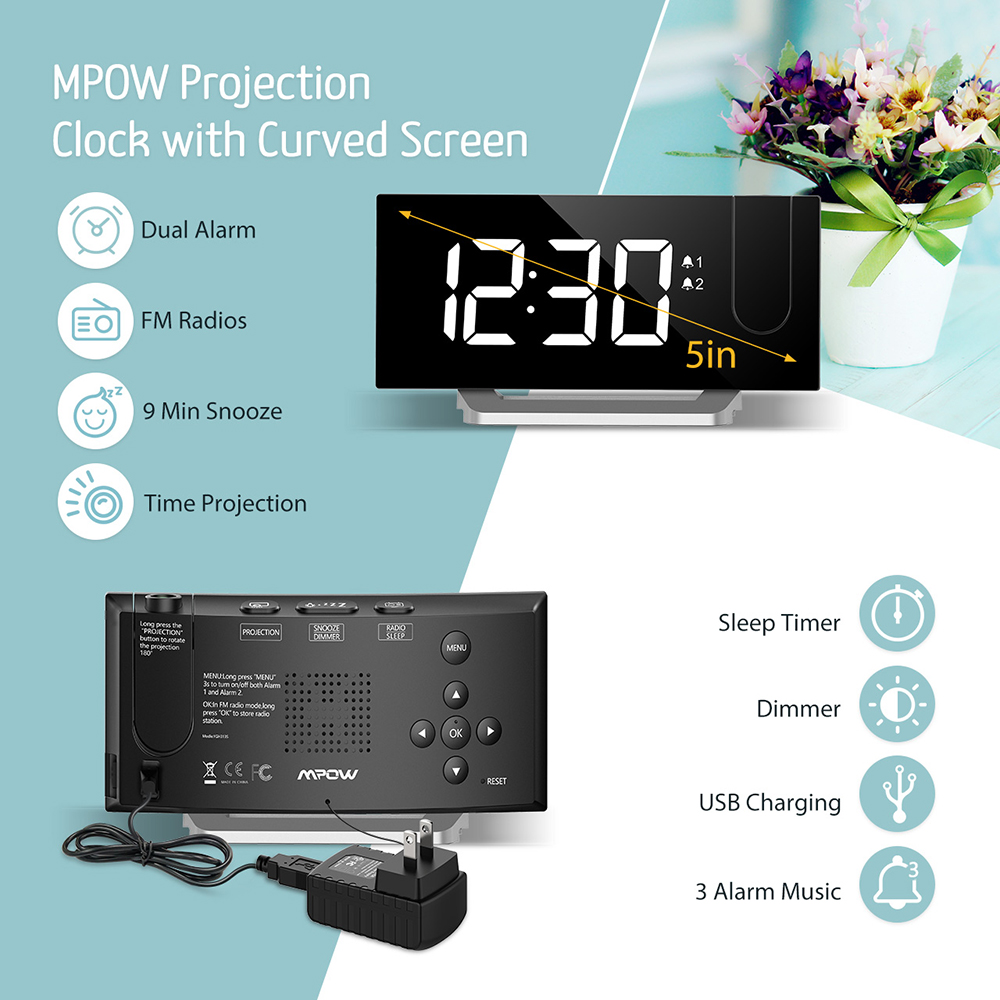 Image 2 - Mpow HM353 FM Radio Projection Alarm Clock With Dual Alarms Snooze Function With USB Charging Port 5'' Large Display Sleep Timer-in Alarm Clocks from Home & Garden