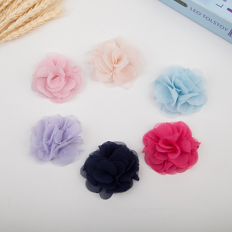 50pcs/lot Artificial Chiffon Flowers DIY Flower Bouquet for Hair Accessories Rosette Pointed Flower