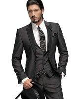 bespoke suits for groom wedding suit wool bleed custom made groom tuxedos dark gray (jacket+pant+vest)