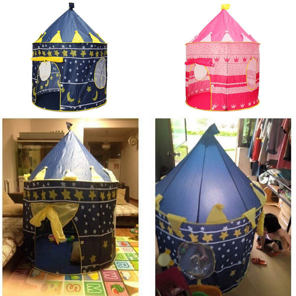 2 Colors Kids Toy Tents Children Folding Play House Portable Outdoor Indoor Toy Tent Princess Prince Castle Play House Kids Gift