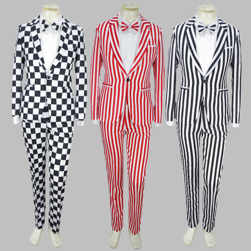 Costume Suit Performance-Theme Plaid Singer Black White Male And Stage Magic Adult Oversize-S-4xl