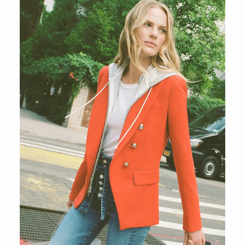 HIGH STREET Newest Stylish 2020 Designer Blazer Jacket Women's Zip Removable Hooded Double Breasted Red Casual Blazer