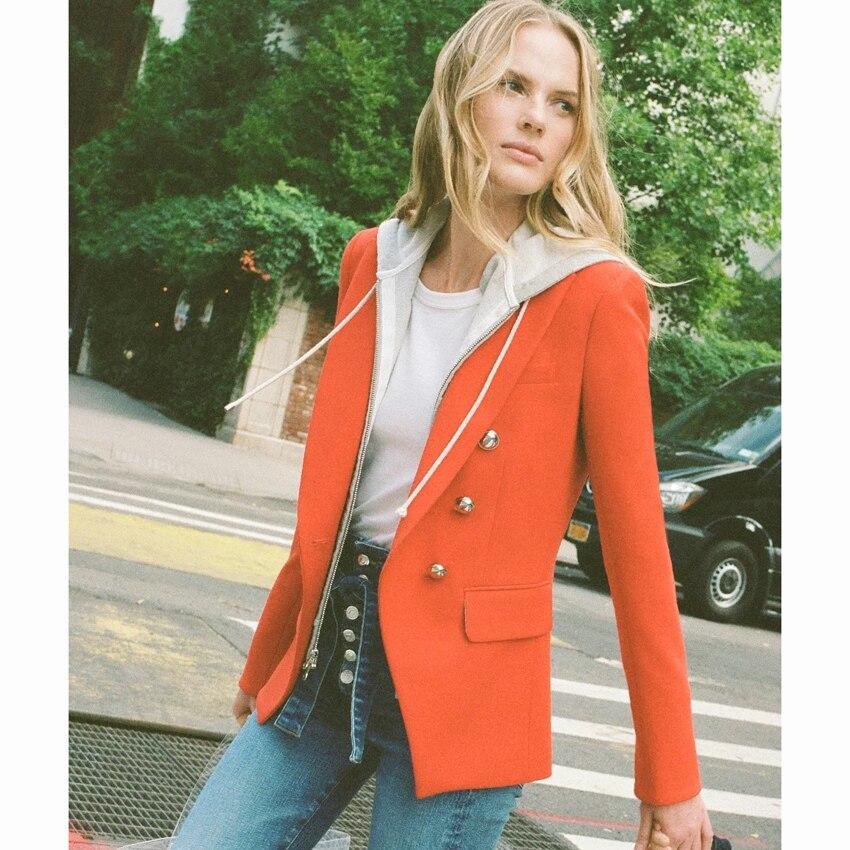 HIGH STREET date élégant 2019 Designer Blazer veste femmes Zip amovible à capuche Double boutonnage rouge jolie pochette-in Blazers from Mode Femme et Accessoires on AliExpress - 11.11_Double 11_Singles' Day 1