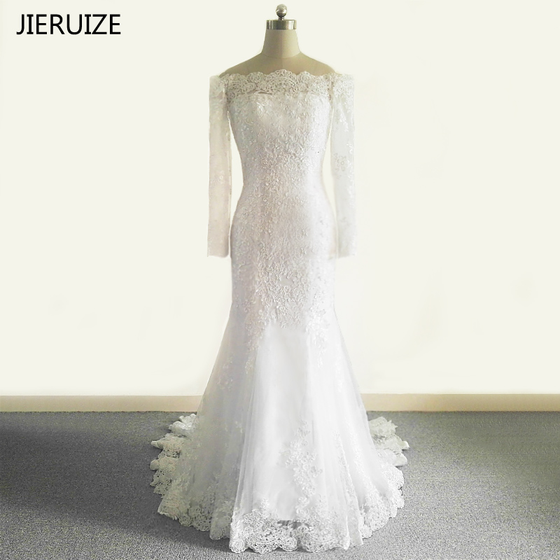 JIERUIZE White Lace Appliques Mermaid Wedding Dresses Boat Neck Wedding Gowns Bridal Dress Robe De Mariage Trouwjurk Brautkleid
