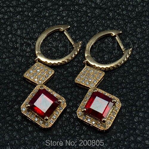 Princess 7mm 14Kt White Gold Diamond Blood Ruby Earrings,Drop Ruby Earrings For Sale ESR012 faux ruby butterfly earrings