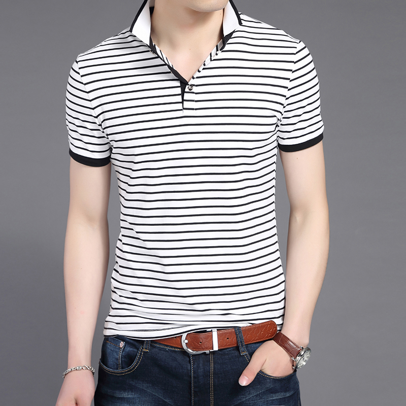 2019 New Fashion Brands   Polo   Shirt Mens Striped Breathable Slim Fit Long Sleeve Summer Boyfriend Gift   Polos   Casual Men Clothes