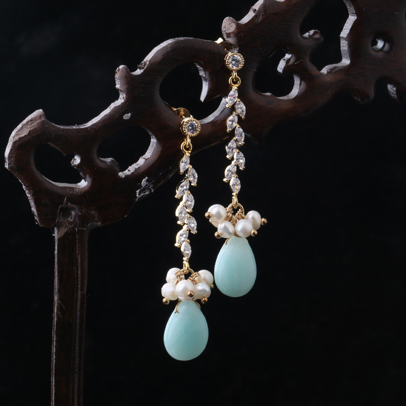 925 silver needle natural stone freshwater pearl gilded long earrings fashion silver needle natural freshwater pearl stars in baroque long earrings eardrop fashion temperament