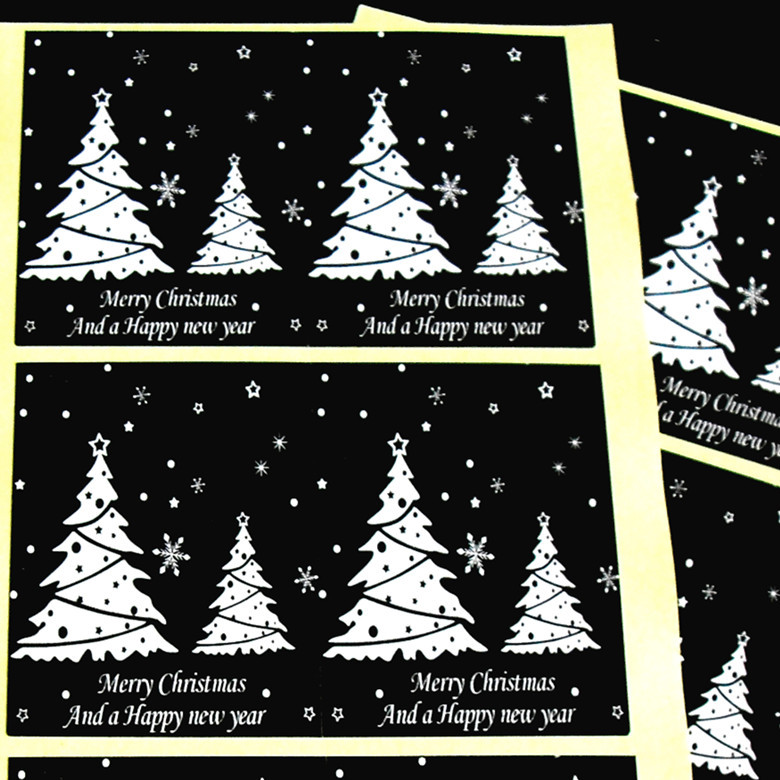 Merry Christmas, And a Happy new year Christmas Tree / snowflakes Stickers, For gift sealing baking package label