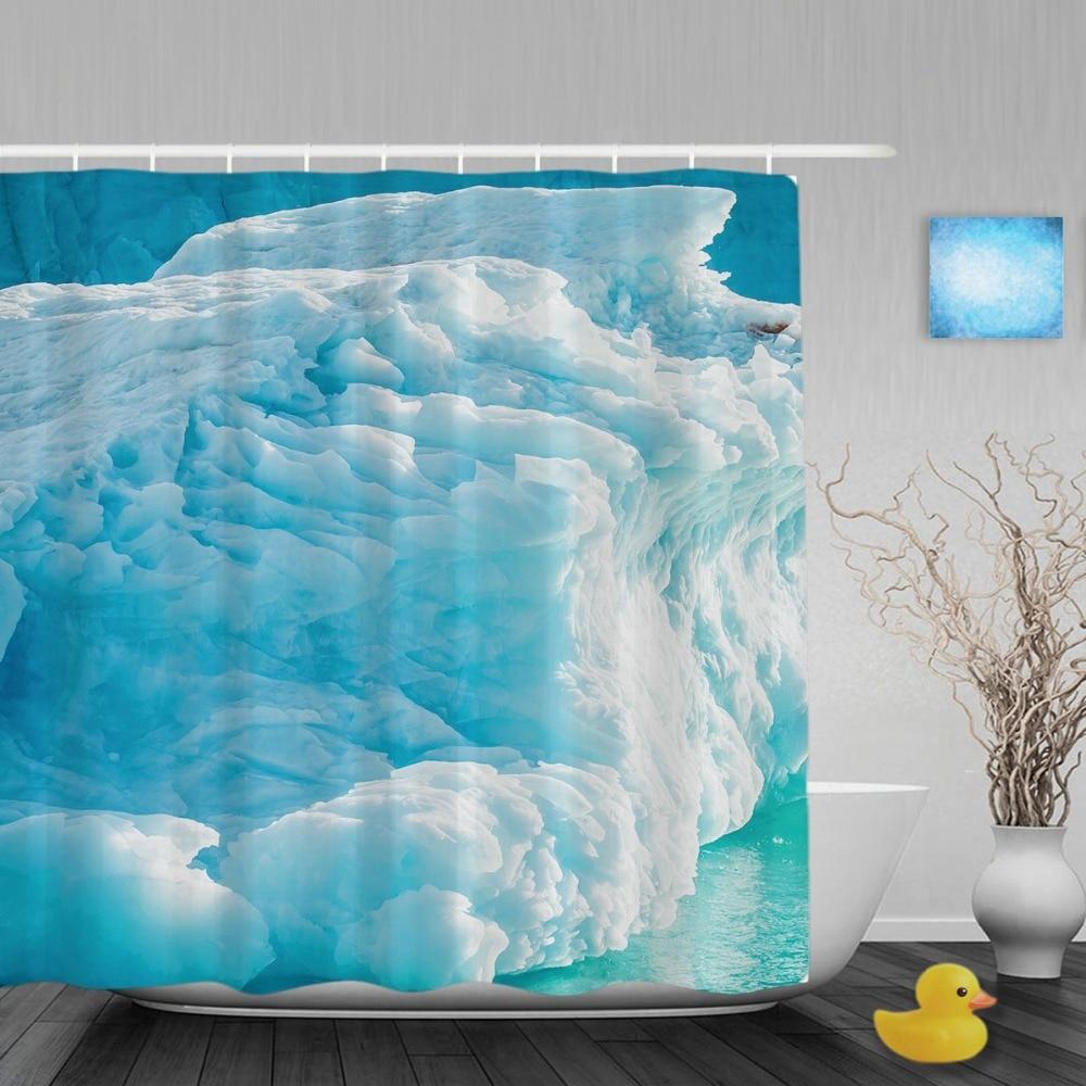 Winter shower curtain - Iceberg In Arctic Decor Bathroom Shower Curtain Winter Nature Scene Shower Curtains Waterproof Mildew Polyester Fabri