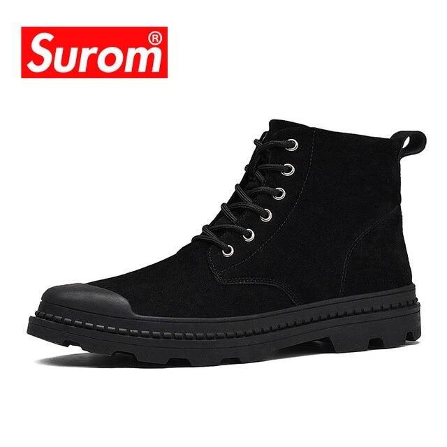 Surom Для мужчин; Зимние ботильоны Кружево на шнуровке теплые короткие плюшевые ботинки открытый Спортивная обувь армии теплые сапожки