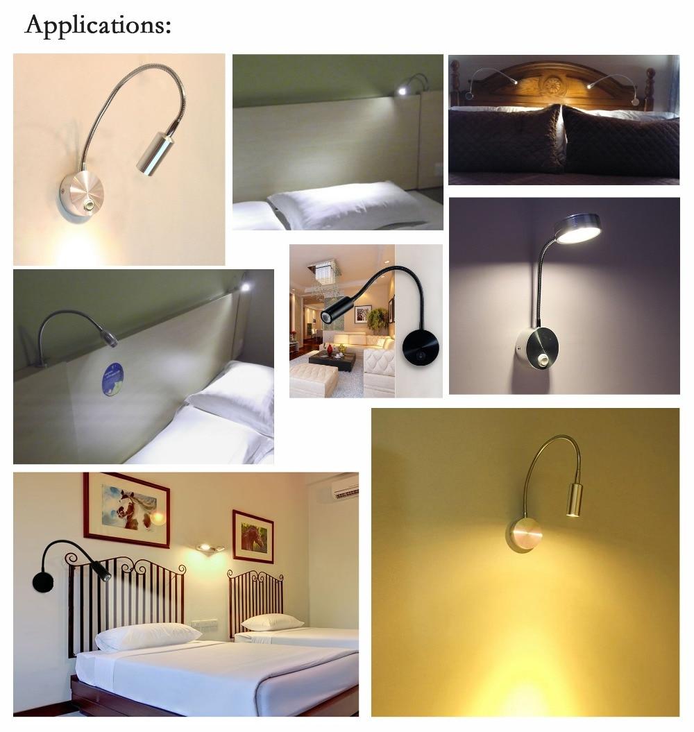 LEDSONLINE 3 W LED Applique Murale Lampe Argent Spotlight Lecture