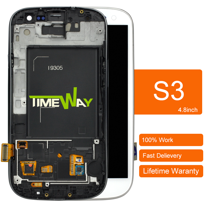 ФОТО Copy AAA DHL 5pcs 100% work ok LCD Screen Digitizer With Frame For Samsung S3 III i9300 Display Assembly Blue/White Color