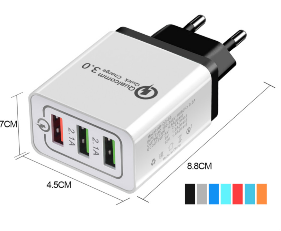 Image 5 - Quick Charge 3.0 Wall Charger 3Port USB EU US Plug for iPad Tablet Phone Quick Charge Travel Adapter Android Fast Charger-in Mobile Phone Chargers from Cellphones & Telecommunications