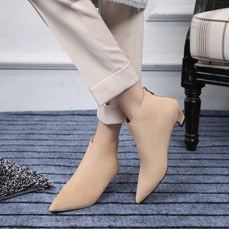 Oveja gatito talón botas para las mujeres señaló Toe volver Zip cuero de  gamuza botas de 89aa0045b718