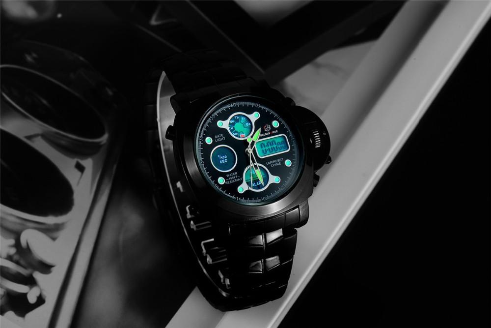 ที่ขายดีที่สุดทั้งหมดสแตนเลสสีดำผู้ชายOriginaฉลามนาฬิกาสไตล์อนาล็อกดิจิตอลปลุกน้ำทนRelógio Masculino 12