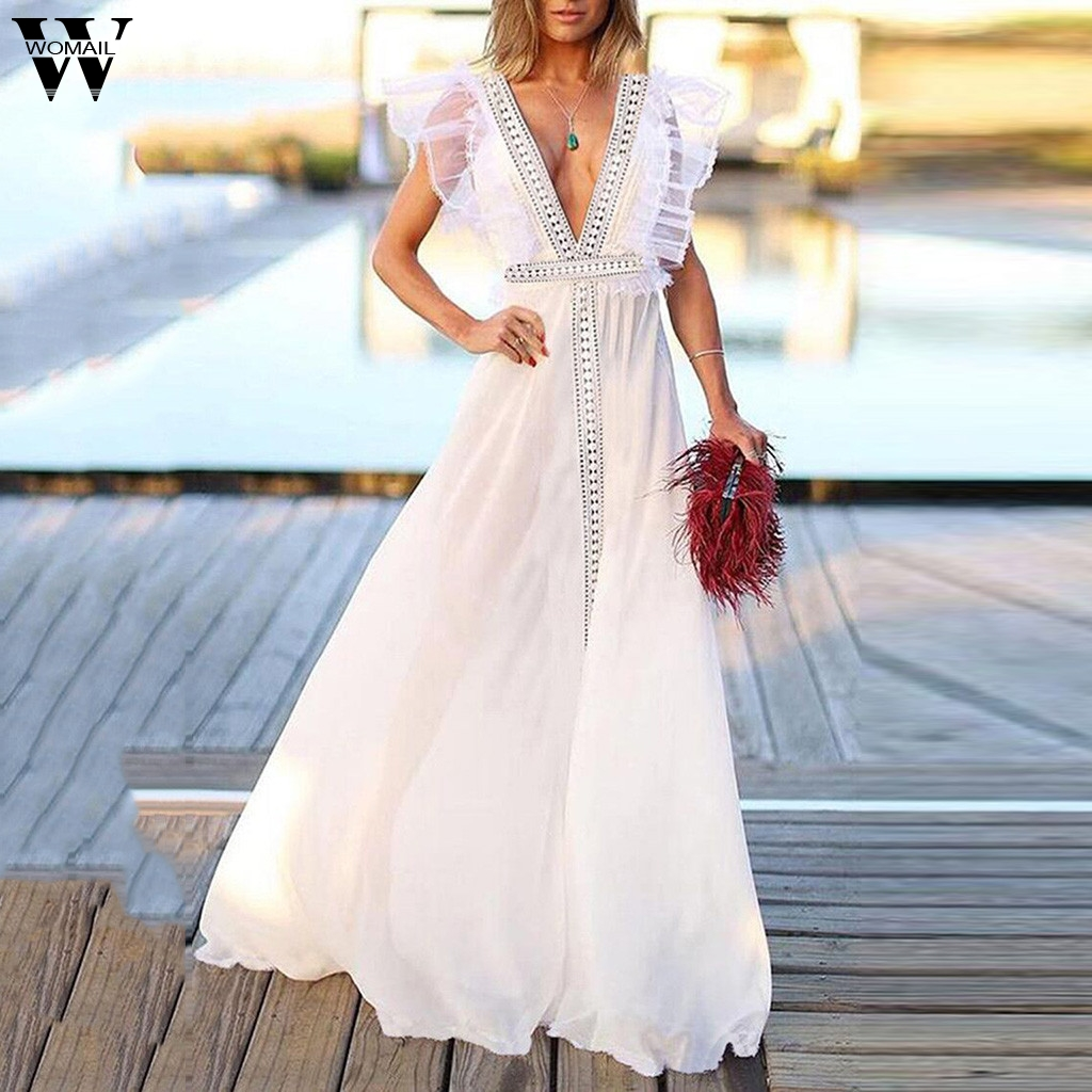 Women's Clothing Womail Dress Woman Summer Sleeveless Deep V-neck Solid Long Dress Holiday Formal Wedding Party Elegant Beach Fashion New2019 A24